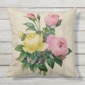 Feminine Antique Retro Floral Pink Flower Bouquet Outdoor Pillow
