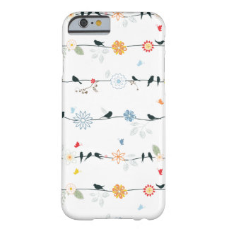 Feminine Birds on a Wire and Flowers Barely There iPhone 6 Case