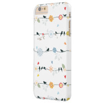 Feminine Birds on a Wire and Flowers Barely There iPhone 6 Plus Case