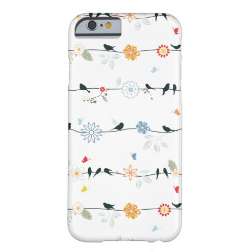Feminine Birds on a Wire and Flowers Phone Case