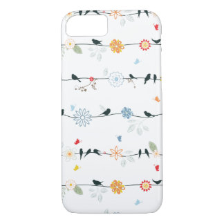 Feminine Birds on a Wire and Flowers iPhone 7 Case