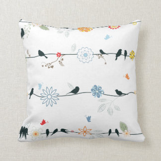 Feminine Birds on a Wire and Flowers Throw Pillow