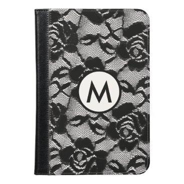 Feminine Black Rose Lace Monogrammed iPad Mini Case