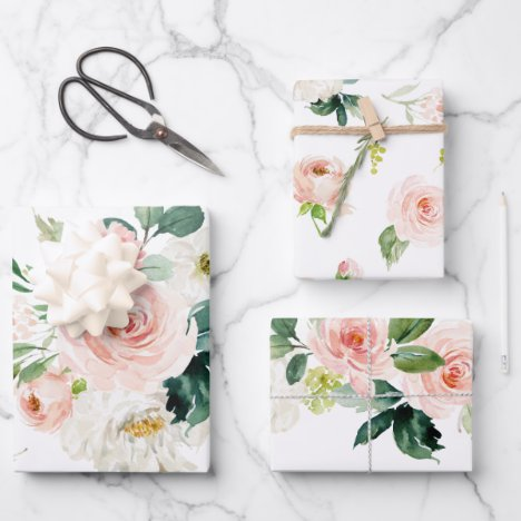 Feminine Blush Pink and White Watercolor Floral Wrapping Paper Sheets