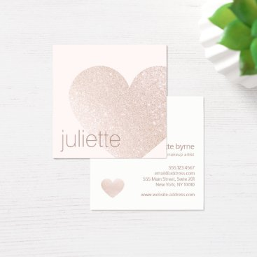 Valentines Themed Feminine Champagne Pink Glitter Heart Beauty Salon Square Business Card