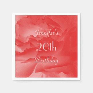 Feminine, Chic Coral Pink Rose, 20th Birthday Paper Napkin