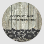 Feminine country chic black lace barn wood classic round sticker