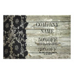 Feminine country chic black lace barn wood flyer