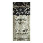 Feminine country chic black lace barn wood rack card