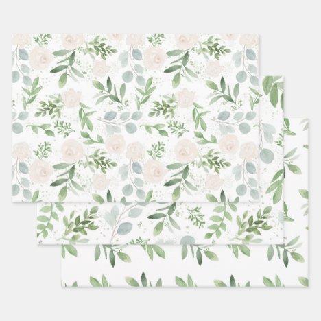 Feminine Eucalyptus & Blush Wrapping Paper Sheets