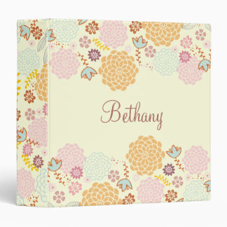 Feminine Fancy Modern Floral Personalized 3 Ring Binder