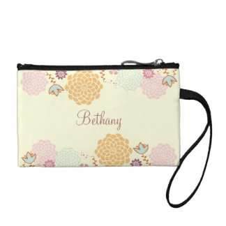 Feminine Fancy Modern Floral Personalized Coin Purse