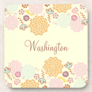Feminine Fancy Modern Floral Personalized Beverage Coasters