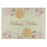 Feminine Fancy Modern Floral Personalized Cutting Board