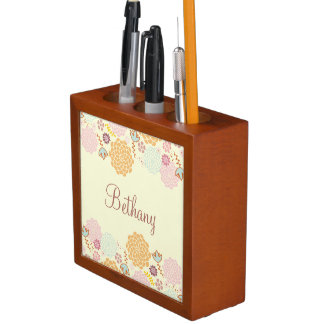 Feminine Fancy Modern Floral Personalized Desk Organizer