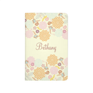 Feminine Fancy Modern Floral Personalized Journals