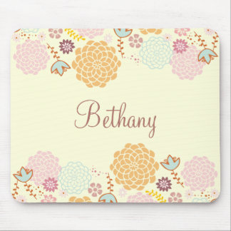 Feminine Fancy Modern Floral Personalized Mouse Pad