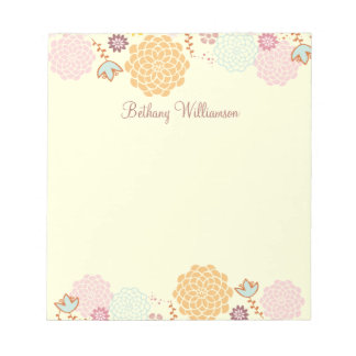 Feminine Fancy Modern Floral Personalized Note Pad