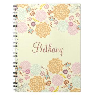 Feminine Fancy Modern Floral Personalized Notebook