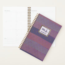 Feminine Faux Gold with Purple Brush Strokes Planner