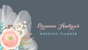 feminine floral bouquet elegant wedding planner business card - Wedding Planner Business Cards