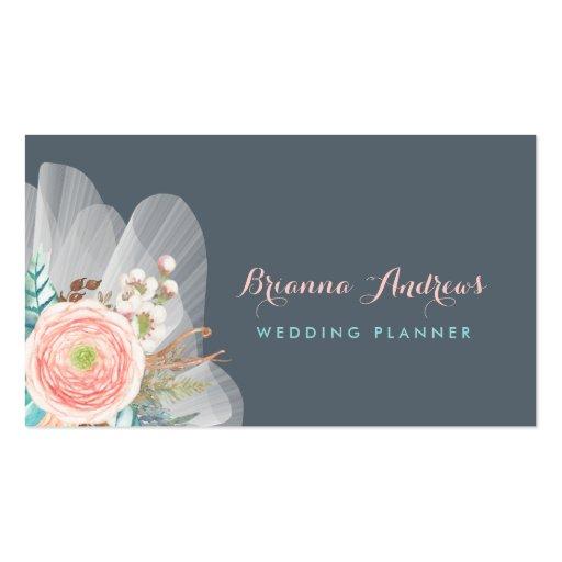 Feminine floral bouquet elegant wedding planner business for Feminine business cards