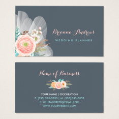 Feminine Floral Bouquet Elegant Wedding Planner Business Card at Zazzle