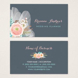 Feminine Floral Bouquet Elegant Wedding Planner Business Card
