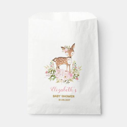 Feminine Floral Deer Baby Shower Woodland Birthday Favor Bag