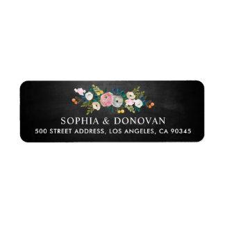 Feminine Floral Garland Chalkboard Return Address Label