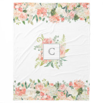 Feminine Floral Pattern with Your Monogram Fleece Blanket