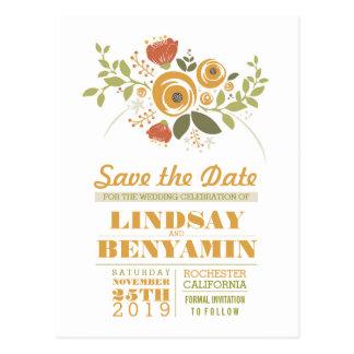 Feminine floral save the date postcards