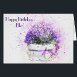 """Feminine floral watercolor birthday card<br><div class=""""desc"""">This is such a pretty and feminine image of a pot of purple and white flowers. An ideal card for the woman in your life who loves flowers and or gardening. The internal image can be used for framing. This is easy to customize but if you have any problems you...</div>"""