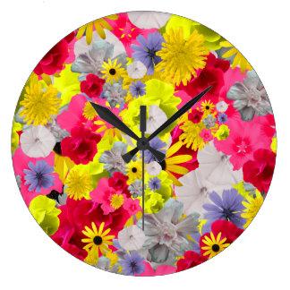 Feminine Flowers In Beautiful Blooming Colors Large Clock