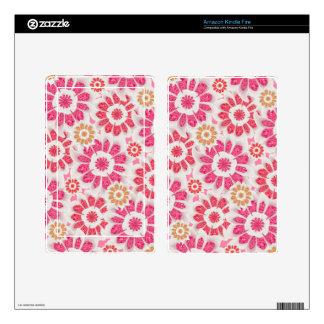 Feminine Flowers Pattern Kindle Fire Skin