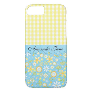 Feminine Gingham and Flowers iPhone 7 Case