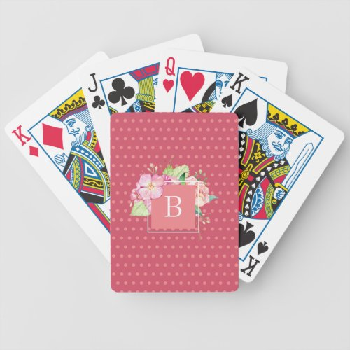 Feminine Girly Chic Monogrammed Pink Floral Bicycle Playing Cards