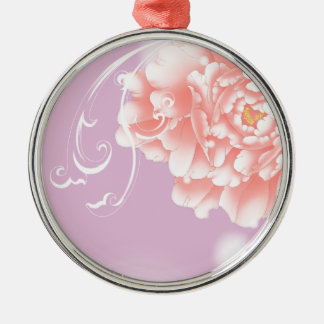 Feminine girly chic watercolor floral pink peony metal ornament
