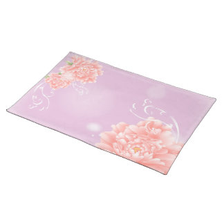 Feminine girly chic watercolor floral pink peony placemat