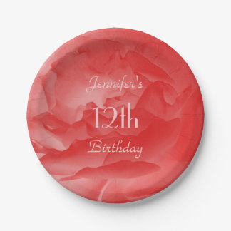 Feminine Girly Coral Pink Rose, 12th Birthday Paper Plate