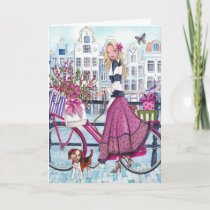 Feminine Girly pink biking in Amsterdam Card