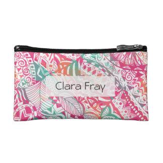 feminine hand drawn pink tribal floral pattern makeup bag