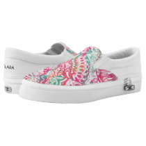 feminine hand drawn pink tribal floral pattern Slip-On sneakers