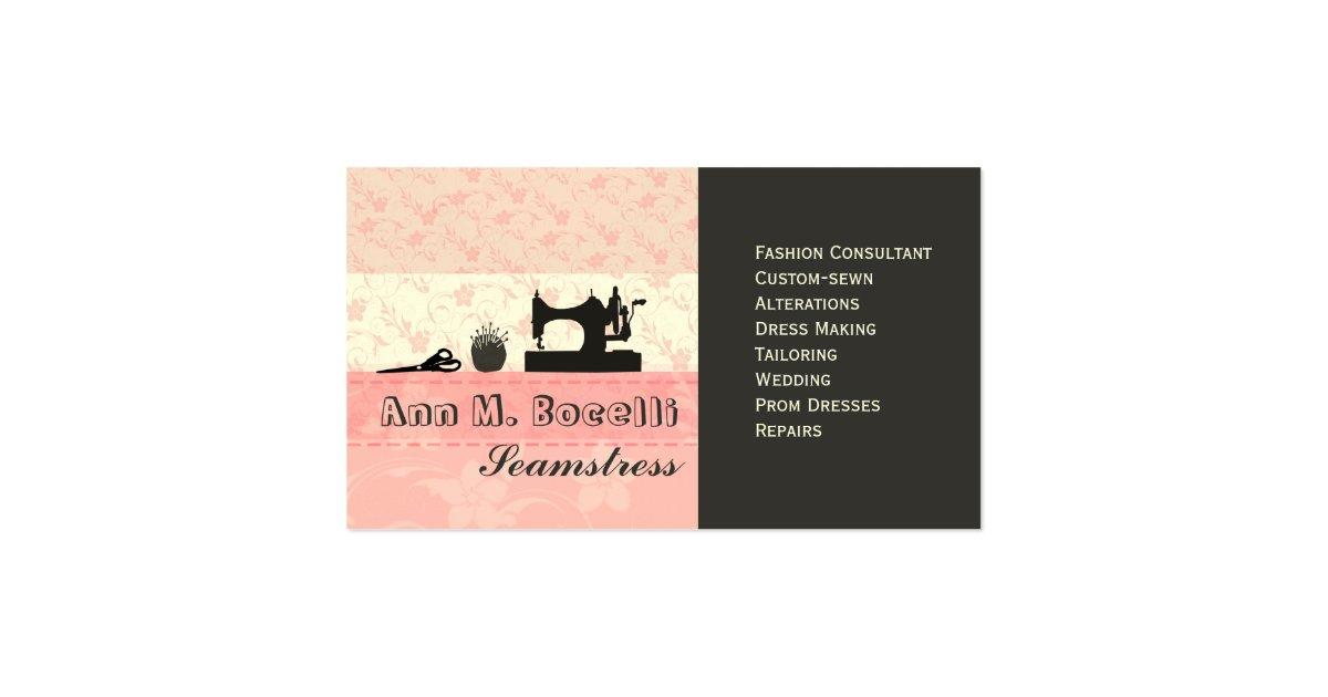 Feminine handmade fashion moda business card zazzle for Feminine business cards