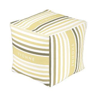 Feminine Horizontal Lemon Chiffon Stripes and Name Pouf