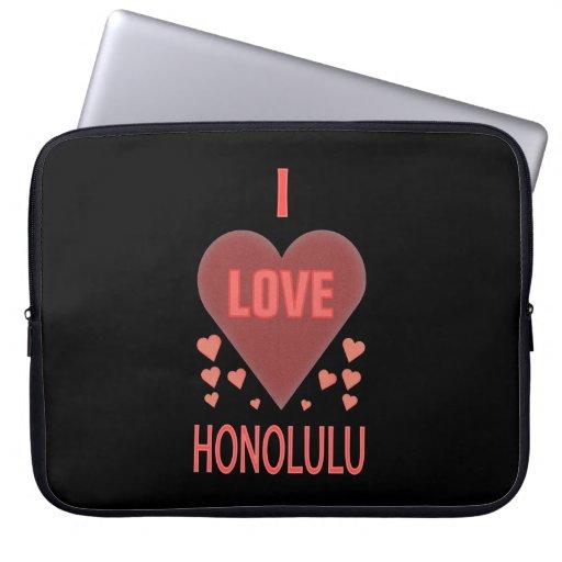 Feminine I Love Honolulu HI Textured Pink Hearts Laptop Computer Sleeve