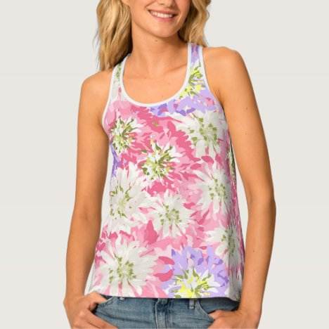 Feminine large pink and mauve flowers tank top