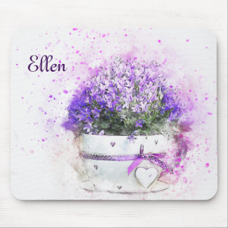 Feminine, lavender and purple flowers bouquet mouse pad