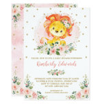 Feminine Lion Baby Shower Blush Gold Floral Invitation