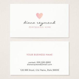 Women business cards templates zazzle feminine love pink heart professional women business card colourmoves Gallery